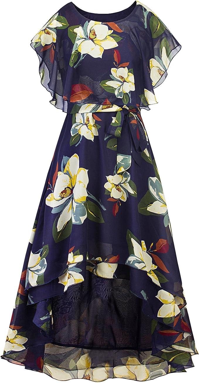 BOHO Damen Sommerkleid Strandkleid Blumenmuster Lang Kleider Jahrgang Midi Kleid