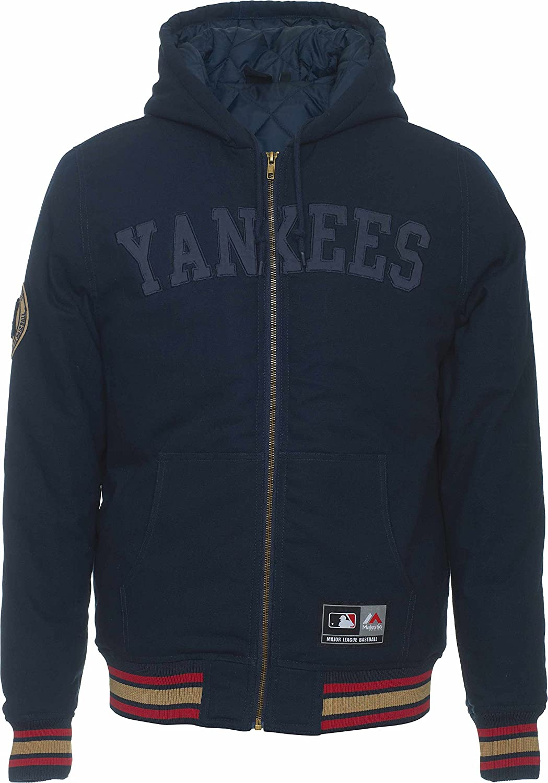NY Yankees azul MLB Bushetts capucha acolchada chaqueta ...