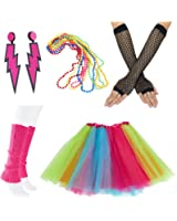 80s Fancy Outfit Costume Accessories Set,Adult Tutu Skirt,Leg Warmers,Fishnet Gloves,Neon Earrings and Neon Beads