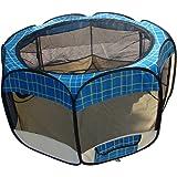 Blue Grid Pet Dog Cat Tent Puppy Playpen Exercise Pen S