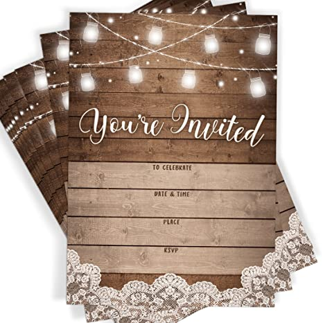 amazoncom youre invited rustic fill in party invitations 25 invites and envelopes all occasions bridal shower baby shower rehearsal dinner