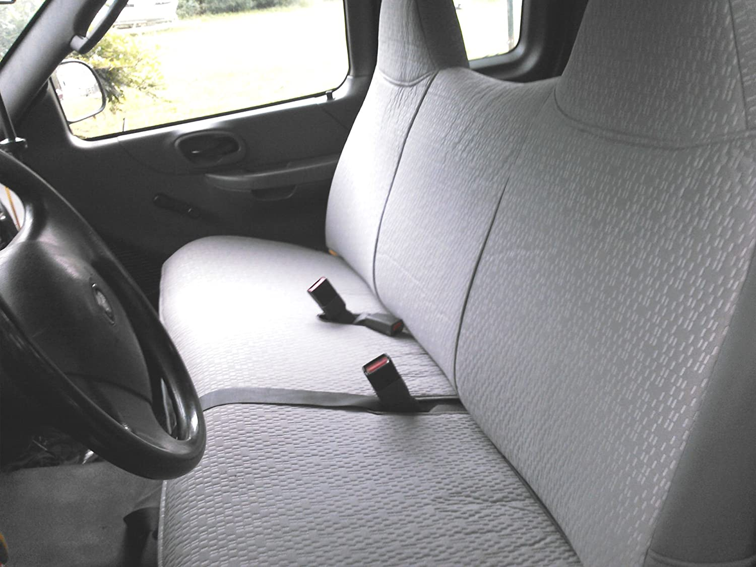 Durafit Seat Covers F243-V7 Ford F150 Truck and Light Duty F250 Bench Seat Custom Exact Fit Seat Covers Gray Automotive Velor