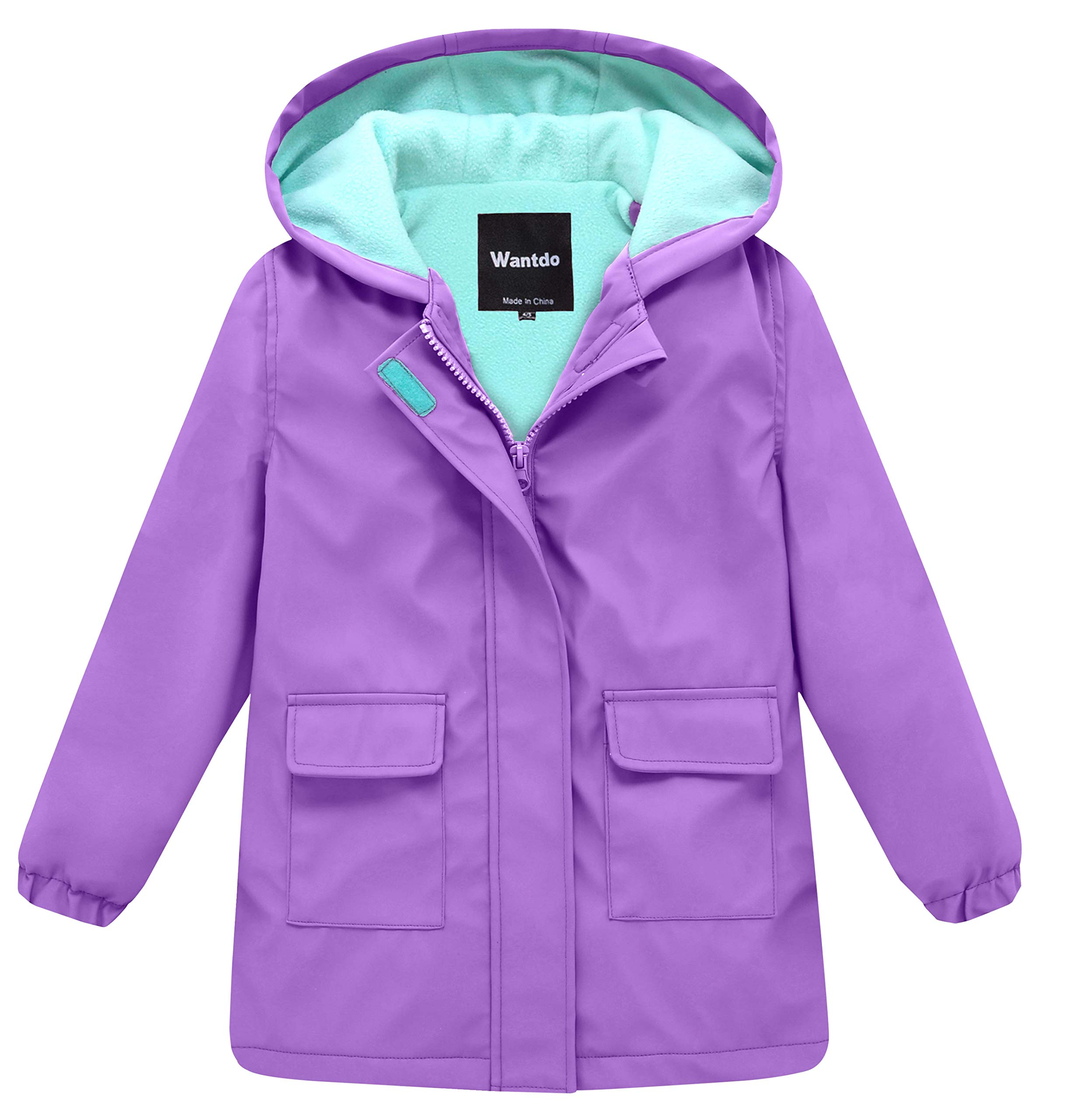 Wantdo Girl's and Boy's Hooded Rain Jacket Waterproof Fleece Lined Windbreaker(Purple, 7-8Y) by Wantdo