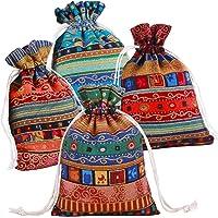 Pinowu Estilo étnico Bolsa de Regalo con cordón (12 Piezas), Algodón Reutilizable Bolsas Joyería Bolsas de Monedas para Candy Fiesta de Bodas Favores de San Valentín( 13x18cm)