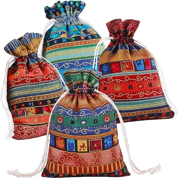 Pinowu Estilo étnico Bolsa de Regalo con cordón (12 Piezas), Algodón Reutilizable Bolsas Joyería Bolsas de Monedas para Candy Fiesta de Bodas Favores de San Valentín(13x18cm): Amazon.es: Joyería
