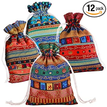 Ethnic Style Drawstring Gift Bag Cotton Reusable Grocery Bags - Pinowu Jewelry Coin Pouches Biodegradable Eco-Friendly Sachet Bags for Candy Wedding ...