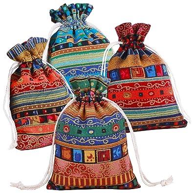 Pinowu Estilo étnico Bolsa de Regalo con cordón (12 Piezas), Algodón Reutilizable Bolsas Joyería Bolsas de Monedas para Candy Fiesta de Bodas Favores ...