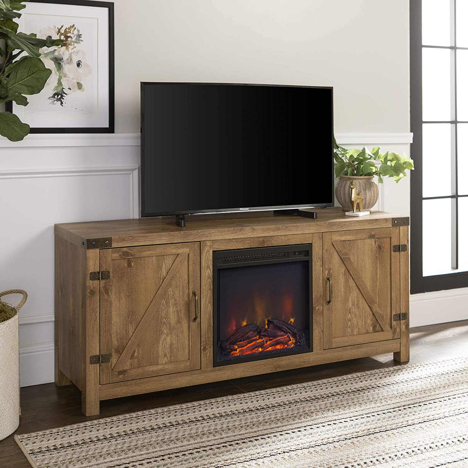 Walker Edison Farmhouse Barn Wood Fireplace Stand for TV's up to 64
