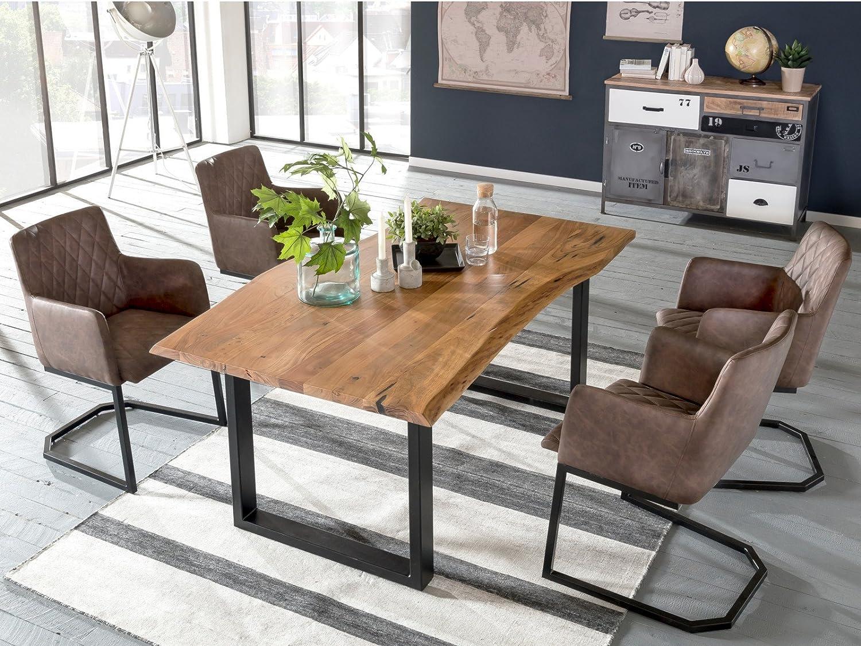 Woodkings Tischgruppe Clinton, Esstisch 170x90 mit 4 Schwingstühlen ...