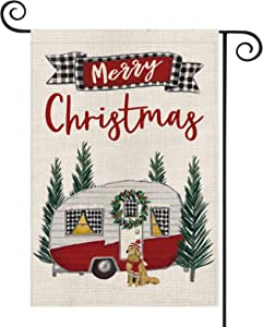 AVOIN Merry Christmas Camper Trailer Garden Flag Vertical Double Sized, Winter Holiday Party Berry Wreath Tree Dog Yard Outdoor Decoration 12.5 x 18 Inch