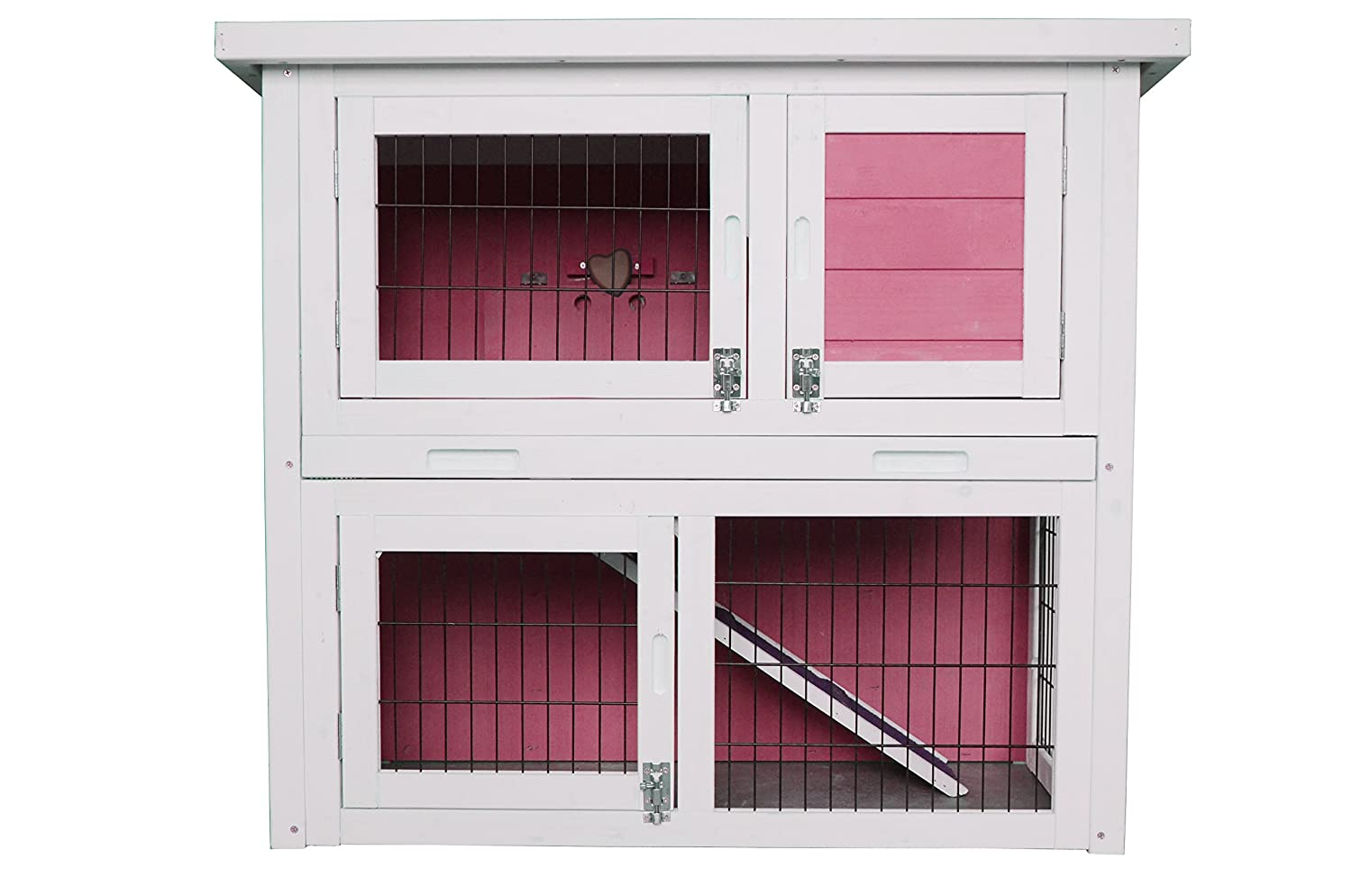 MCombo 0323S Wooden Rabbit Hutch Small Animal House/Pet Cage/Chicken Coop, 32, Pink 32 6010-0323SP