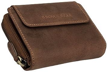 Brown Bear Geldbörse Leder vintage braun Reißverschluss BH