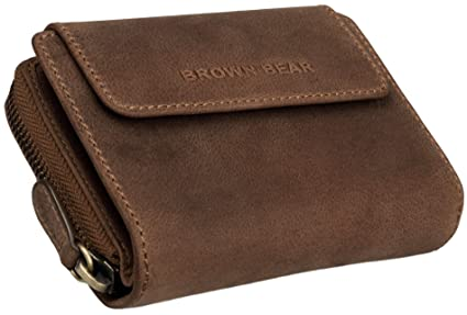 Brown Bear Monedero Mujer Piel Vintage marrón cremallera BH ...