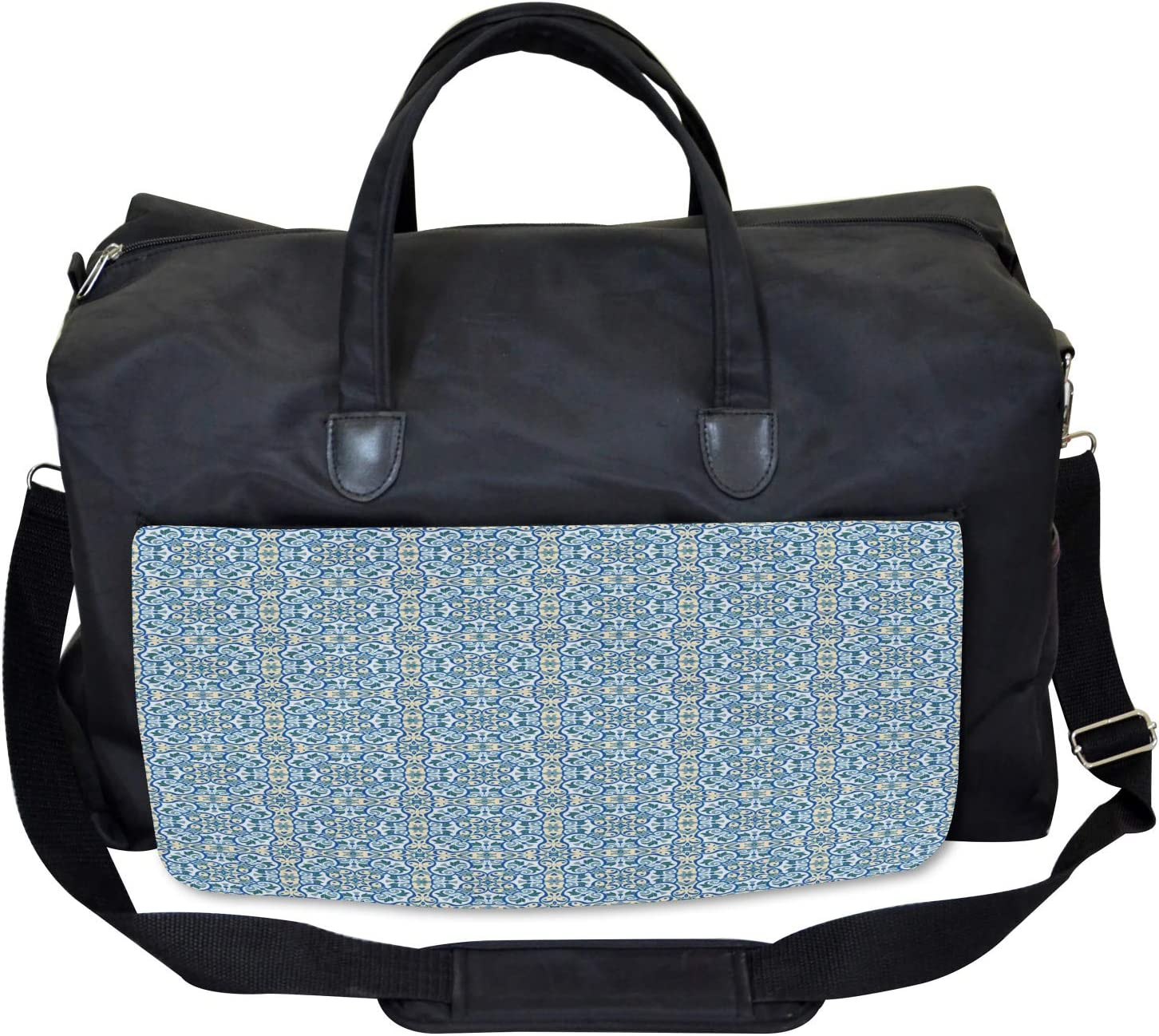 Large Weekender Carry-on Ambesonne Floral Gym Bag Curvy Circular Hand Tile