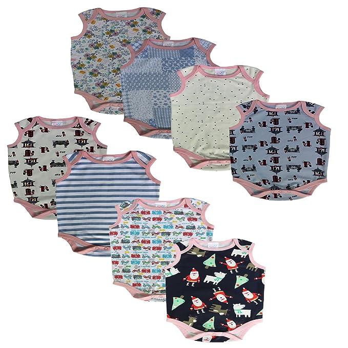1057542ca Inky Pinky Printed Born Baby Boys Girls Onesie Sleeve Less Combo ...