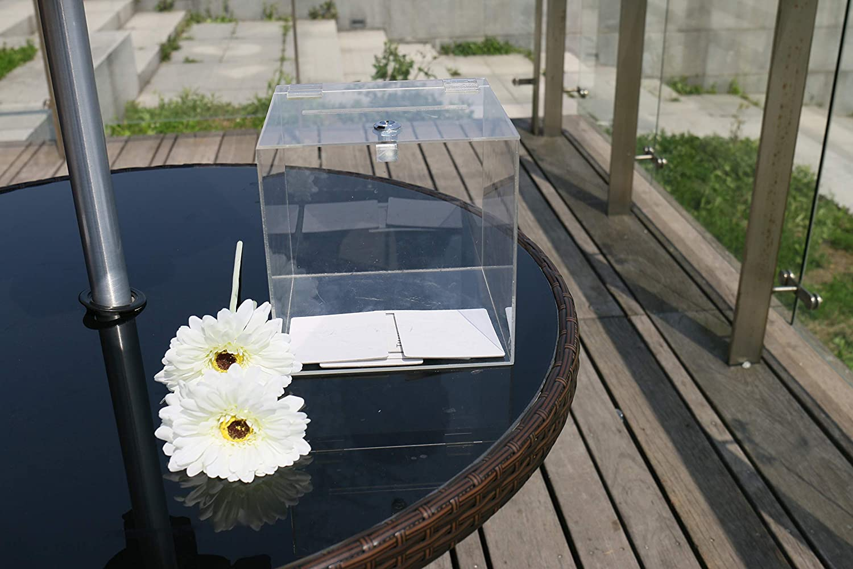 , Black Text 8x8x8 Wadbeev Wedding Acrylic Card Box Mr /& Mrs Money Card Gift Holder Donation Box Crystal Clear Plexiglass Box with Lid Lock and Key Small