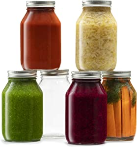Glass Regular Mouth Mason Jars, 32 Ounce Glass Jars with Silver Metal Airtight Lids for Meal Prep, Food Storage, Canning, Drinking, Overnight Oats, Jelly, Dry Food, Spices, Salads, Yogurt (6 Pack)