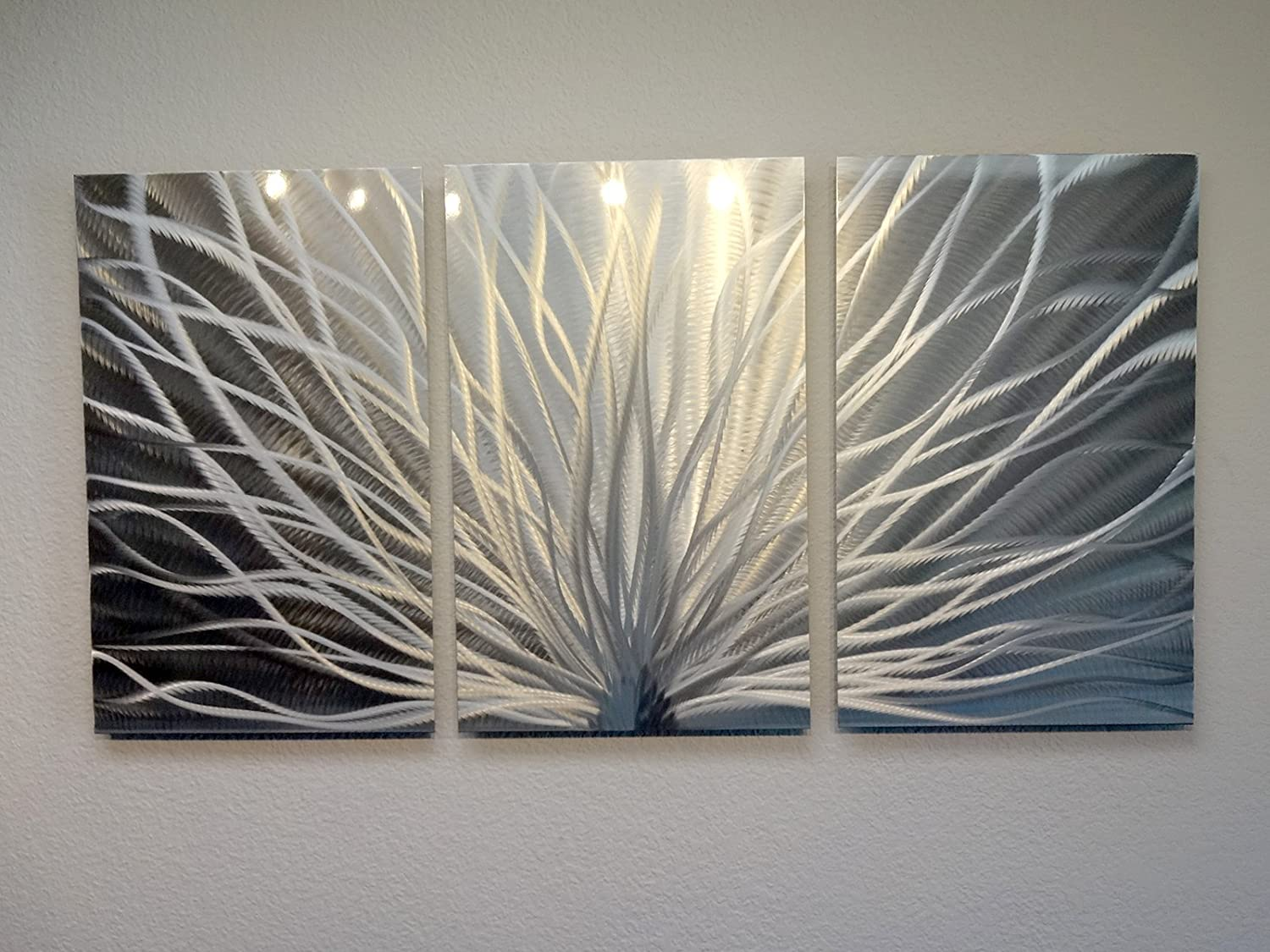 Miles Shay Metal Wall Art, Modern Home Decor, Abstract Wall Sculpture  Contemporary- Radiant Silver (3 Panel- 47 inch Wide)