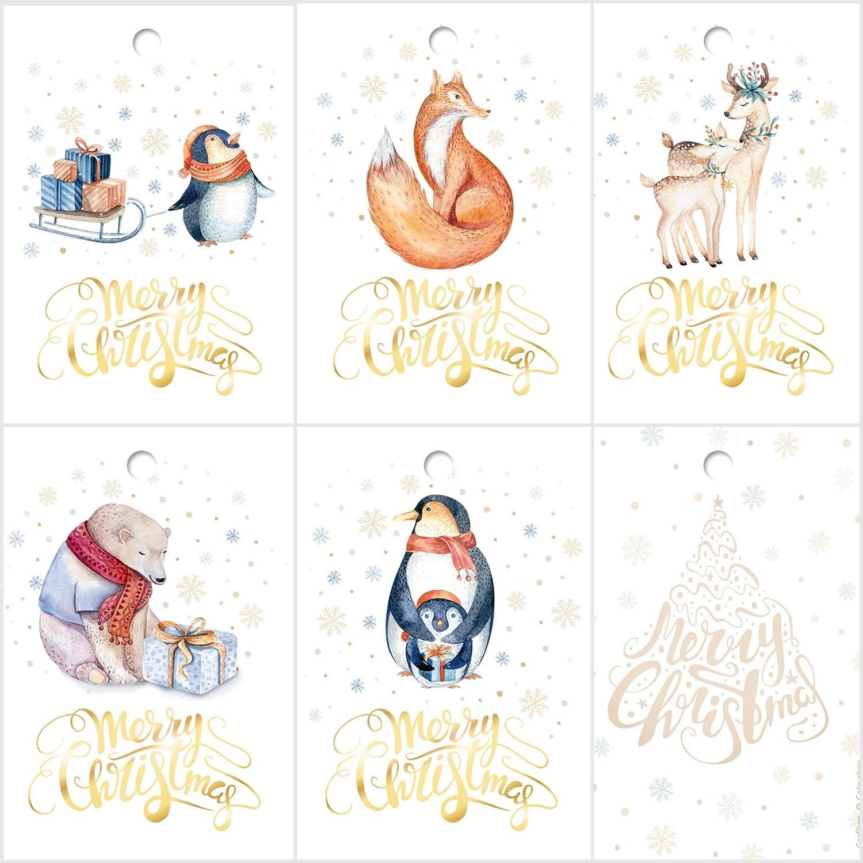 25 Geschenkanhänger Weihnachten, 52 x 74 mm / 5 verschiedene Tier-Motive je 5 St. Weihnachtsanhänger, Anhänger, Geschenkkarten, Anhängeetiketten für Weihnachtsgeschenke von EDITION COLIBRI (Set 2) Anhänger