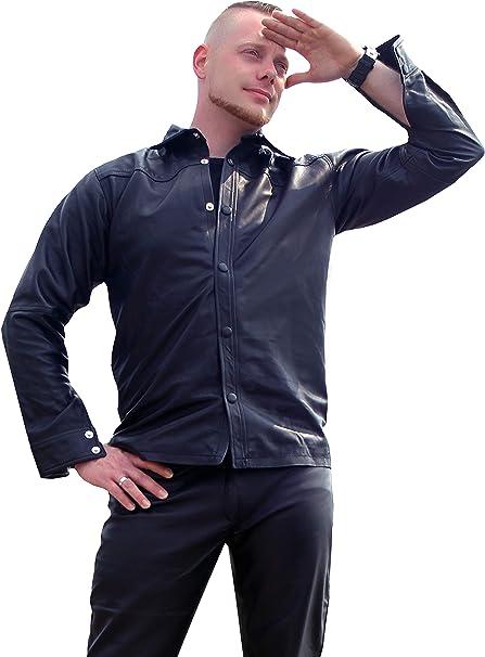 Fetish Design Lederhemd Manhattan Schwarz Herren Langarm