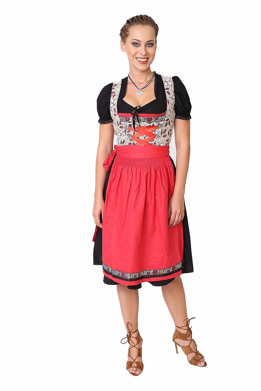 Dirndl Set 3tlg.-Trachtenkleid, Bluse und Schuerze - Trachtenmode Dirndl midi Schwarz, Rot und Beige