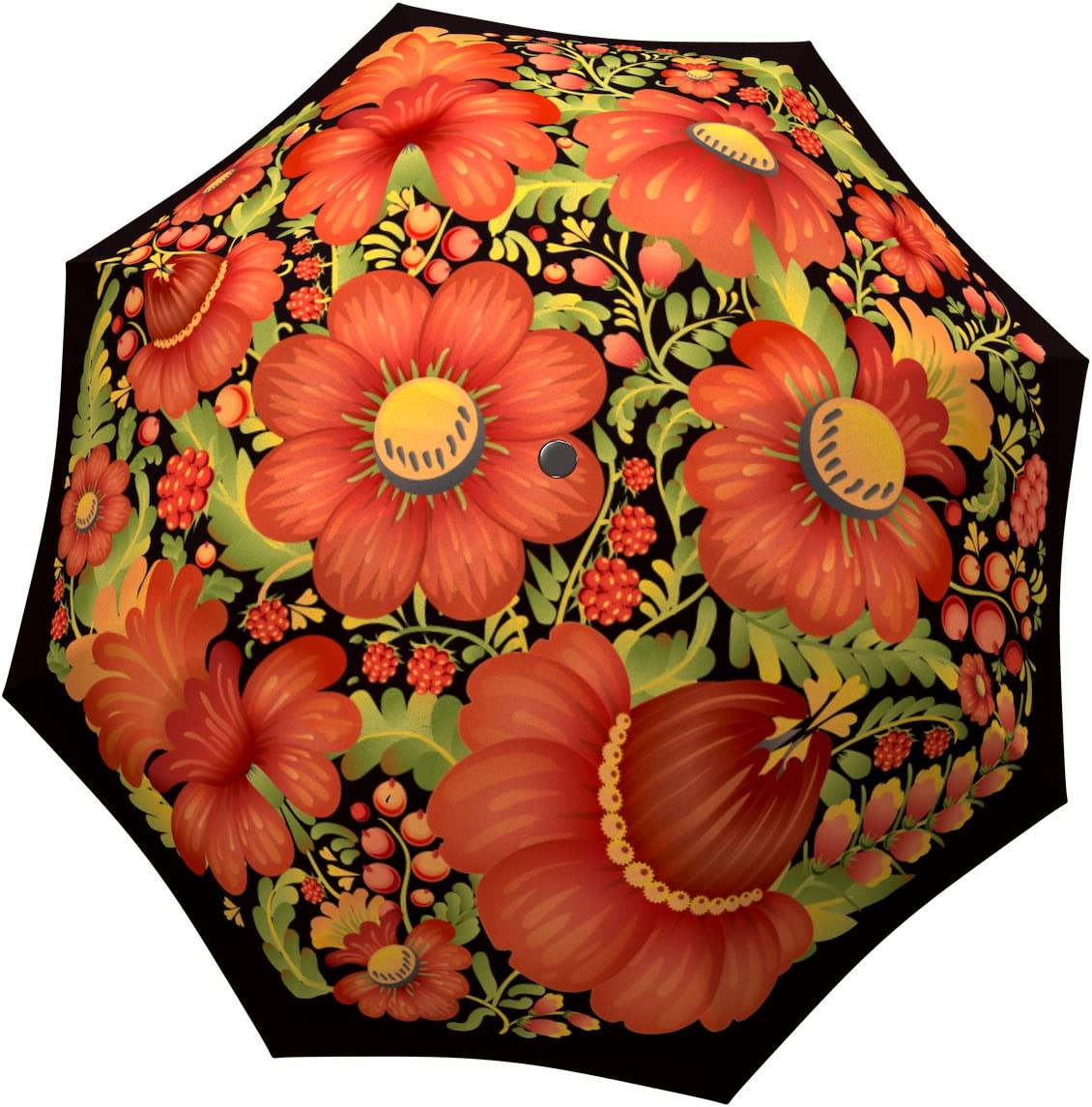 Blue Floral With Artistic Effect Compact Travel Umbrella Windproof Reinforced Canopy 8 Ribs Umbrella Auto Open And Close Button Customized