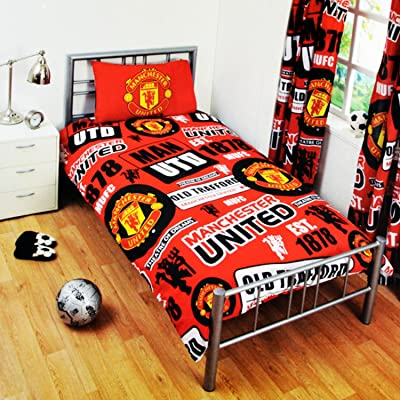 Manchester United FC Childrens/Kids Official Patch Football Crest Duvet Set (Twin) (Red): Home & Kitchen