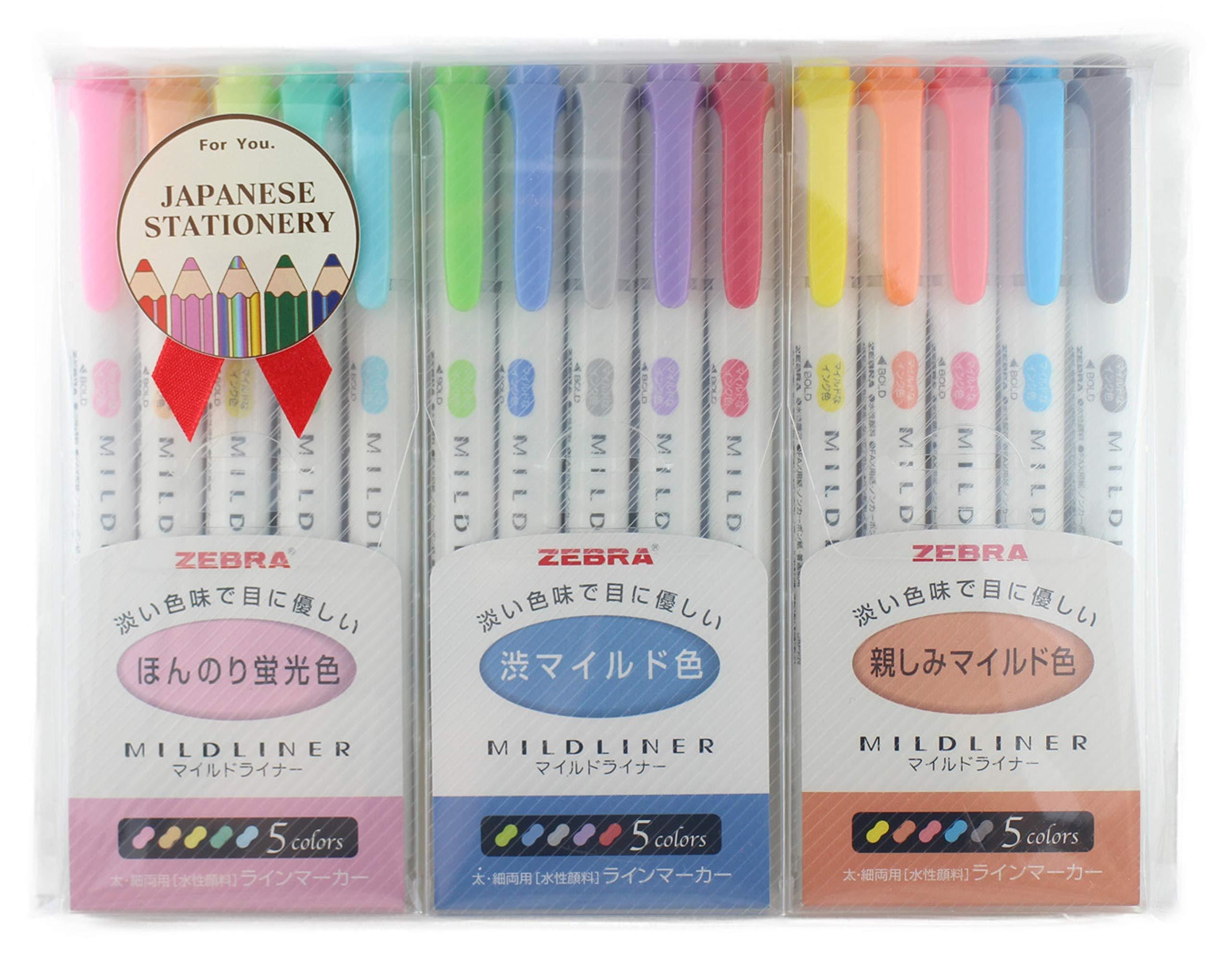 MILDLINER Zebra WKT7-5C (5-Color Set) / WKT7-5C-NC (5-Color Set) /WKT7-N-5C (5-Color Set) 3 Pack with MIYABI stationery store Original gift package[5C/NC/N5C]