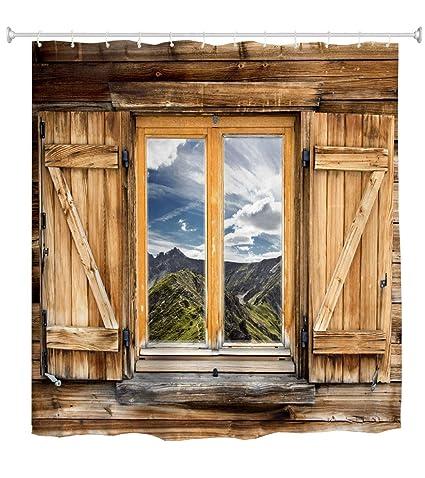 Goodbath Farmhouse Shower Curtain, Old Wooden Barn Door Window Pattern With  Mountain Hill Sky Nature