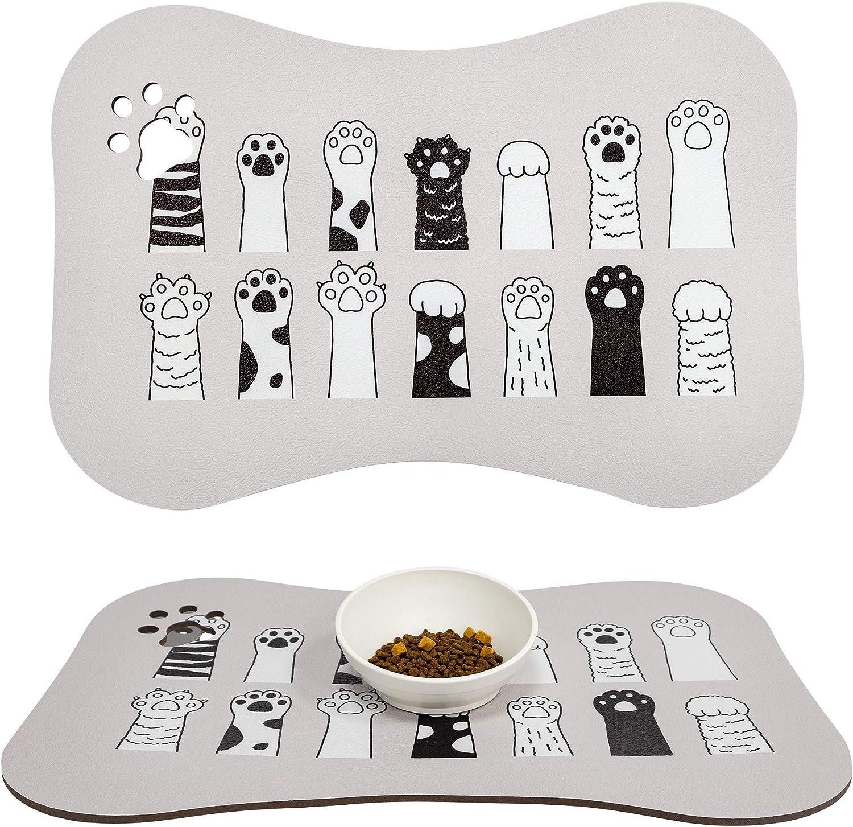 COLORPAPA Dog Food Mat Pet Mat for Food and Water Non Slip Pet Feeding Mat Waterproof Cat Food Mat Unique Bone Design Bowl Mat