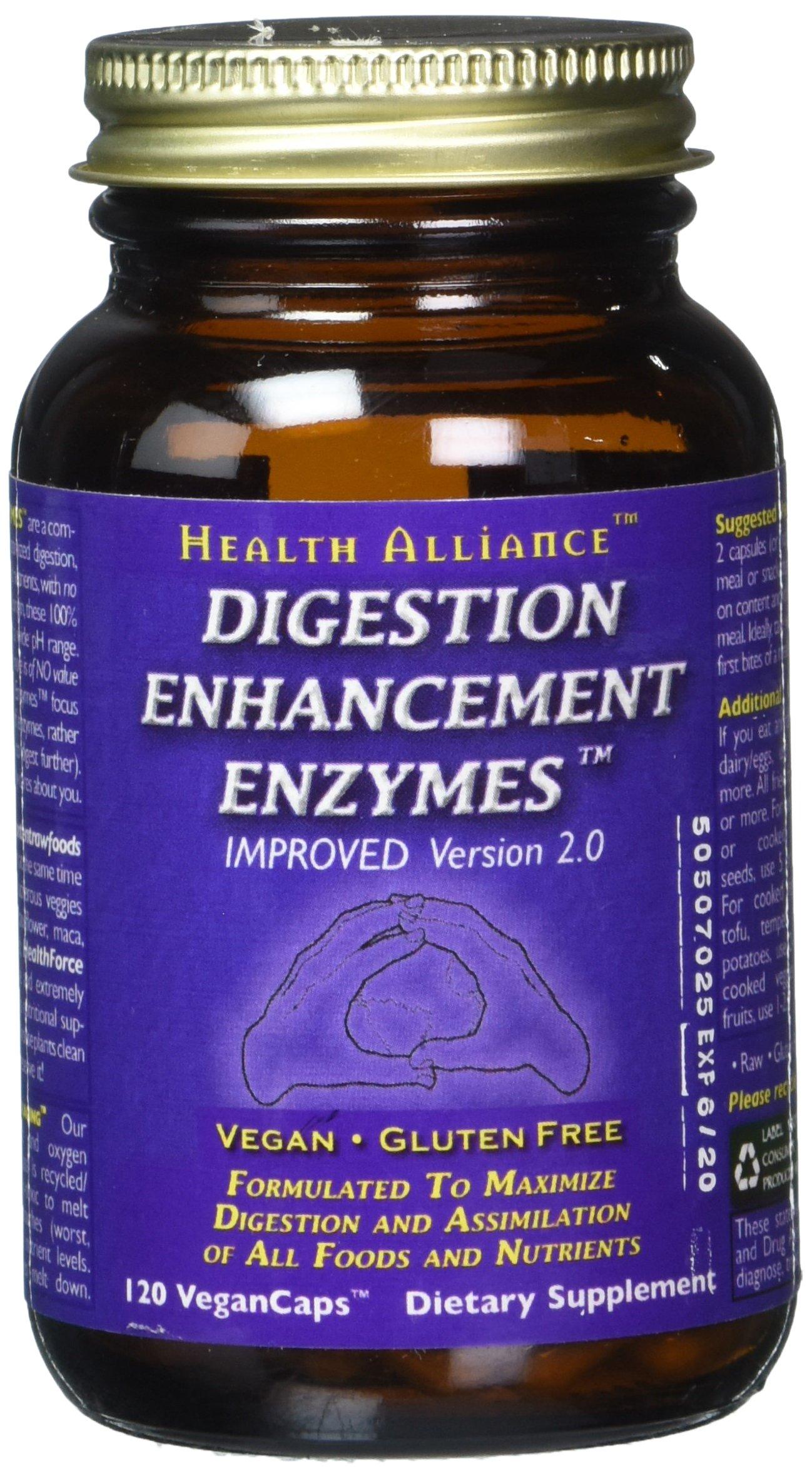 HealthForce SuperFoods Digestion Enhancement Enzymes 120 Count Vegancaps
