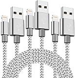 XIANDAN ライトニングケーブル 【3本セット 1M】 iPhone USB充電ケーブル ナイロン編み 8pin データ転送 Lightningケーブル iPhone X/8/8Plus/7/7 Plus/6/6 Plus/6s/6s Plus/5/SE/5s/iPad/iPod 対応 (グレー)