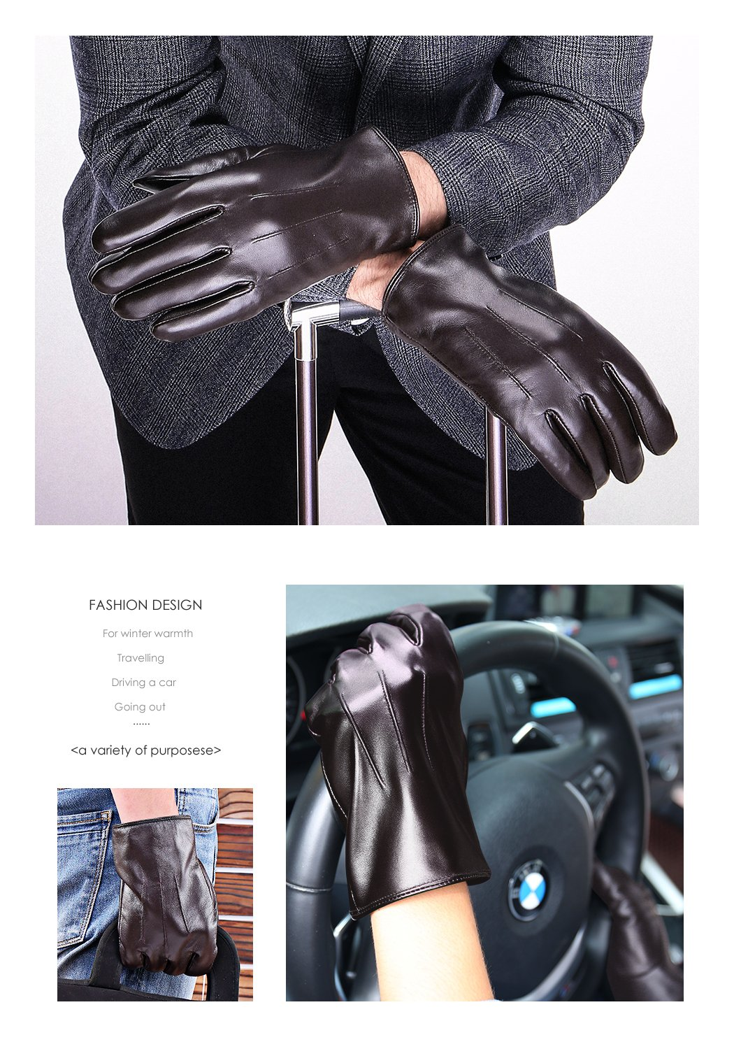 Leather Gloves for men,Anccion Best Touchscreen Winter Warm Italian Nappa Geniune Leather Gloves for Men's Texting Driving Cashmere/fleece Lining (Large, Brown) by Anccion (Image #5)