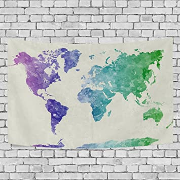Amazon formrs watercolor world map tapestry wall hanging decor formrs watercolor world map tapestry wall hanging decor 60 x 40 inches white purple teal gumiabroncs Image collections