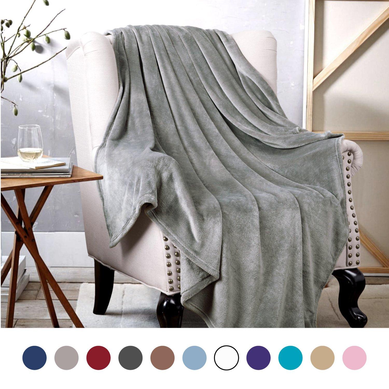 Bedsure Flannel Fleece Luxury Blanket Grey Throw Lightweight Cozy Plush Microfiber Solid Blanket by Bedsure