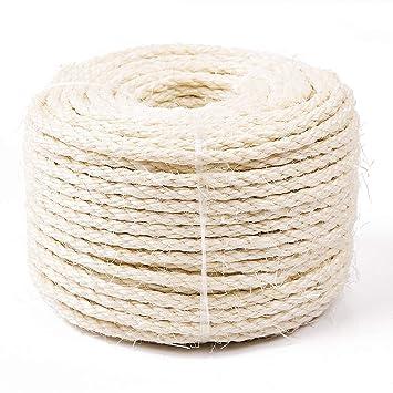 Yangbaga Sisal Natural Cuerda Sisal 6mm Reemplazo Rascador para Reparación Árbol Bola Pelota de Cuerda Sisal Gratis (50m, Blanco): Amazon.es: Productos para ...