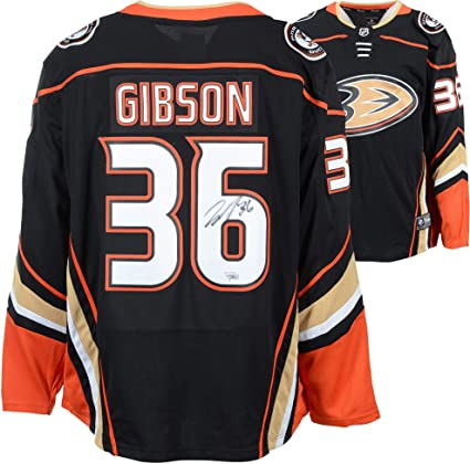 huge discount f2091 9a96c John Gibson Anaheim Ducks Autographed Black Fanatics ...