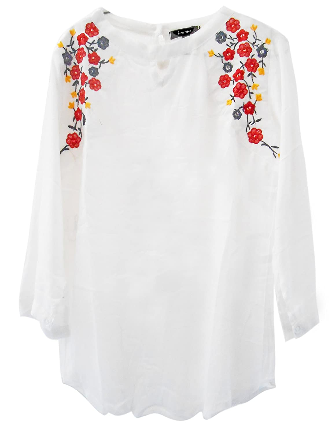 Triumphin White Women Short Top Kurti For Jeans Embroidered Cotton Top For Daily wear Stylish Casual and Western Wear Women / Girls Top