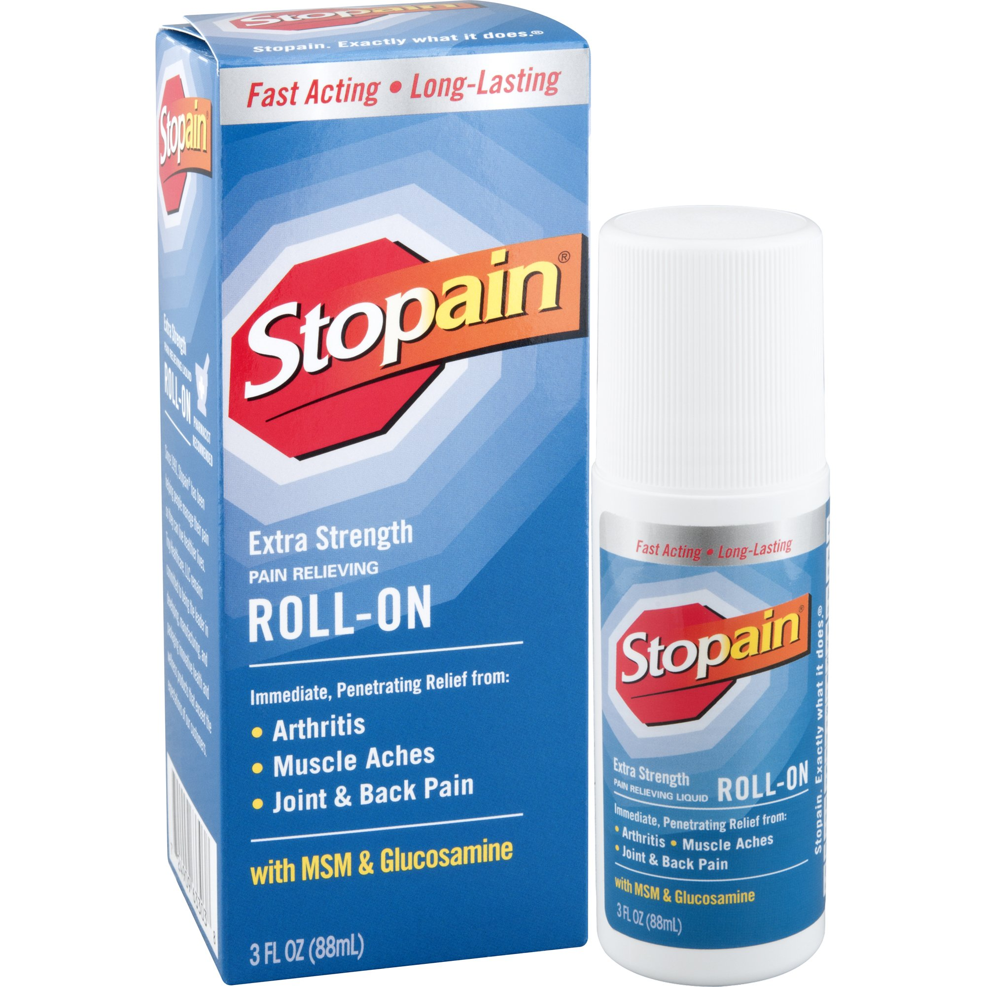 Stopain Extra Strength Pain Relief Roll-On, 3 Ounce, Mess Free and Easy, Temporarily Relieves Muscle and Joint Pain Due to Simple Backache, Arthritis, Strains, Bruises and Sprains