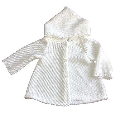 0e2a798354 BIMARO Baby Mädchen Strickjacke weiß mit Kapuze langarm Bolero Taufjacke  Strickbolero festlich Taufe Hochzeit Anlass,