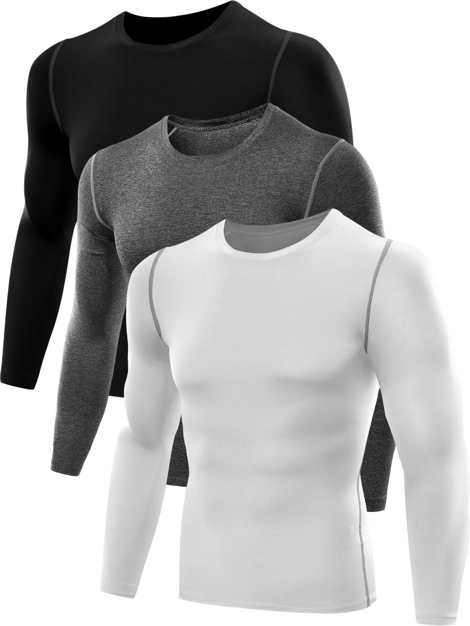 Neleus Men's 3 Pack Athletic Compression Sport Running T Shirt Long Sleeve Base Layer,Black,Grey,Whie,US S,EU M by Neleus