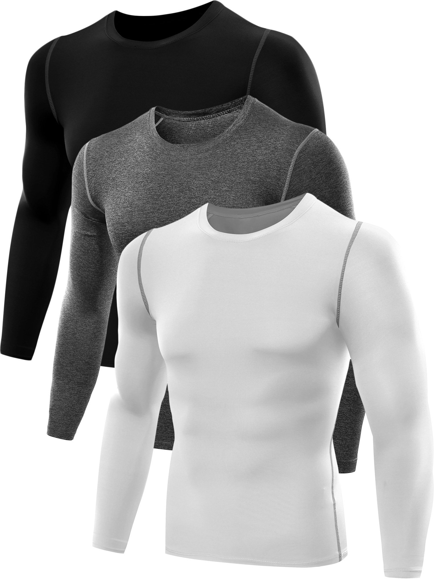Neleus Men's 3 Pack Athletic Compression Sport Running T Shirt Long Sleeve Base Layer,Black,Grey,Whie,Medium