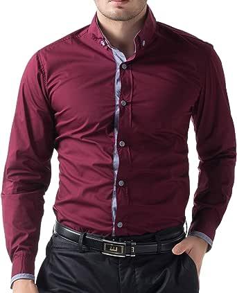 Paul Jones para hombre Slim Fit Manga Larga Casual Camisas cl5248 – 49