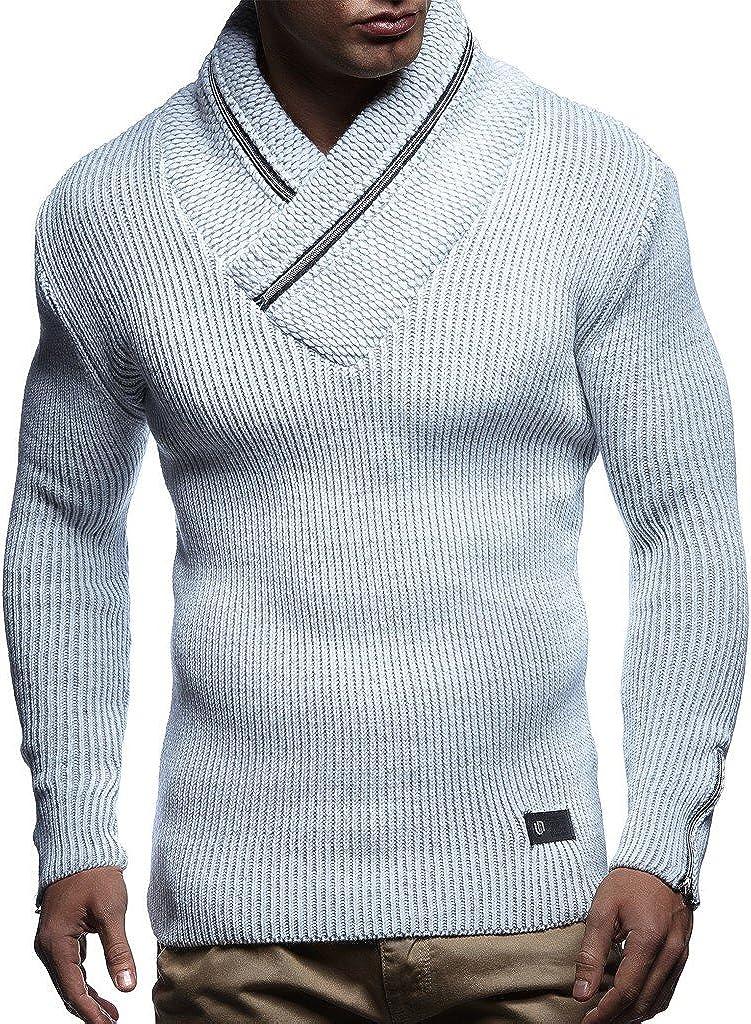 Leif Nelson Herren Strick-Pullover Schalkragen Slim Fit Winter Sommer Moderner M/änner schwarzer Pulli T-Shirt Langarm mit Kragen Herren Hoodie-Wollpullover LN4170F