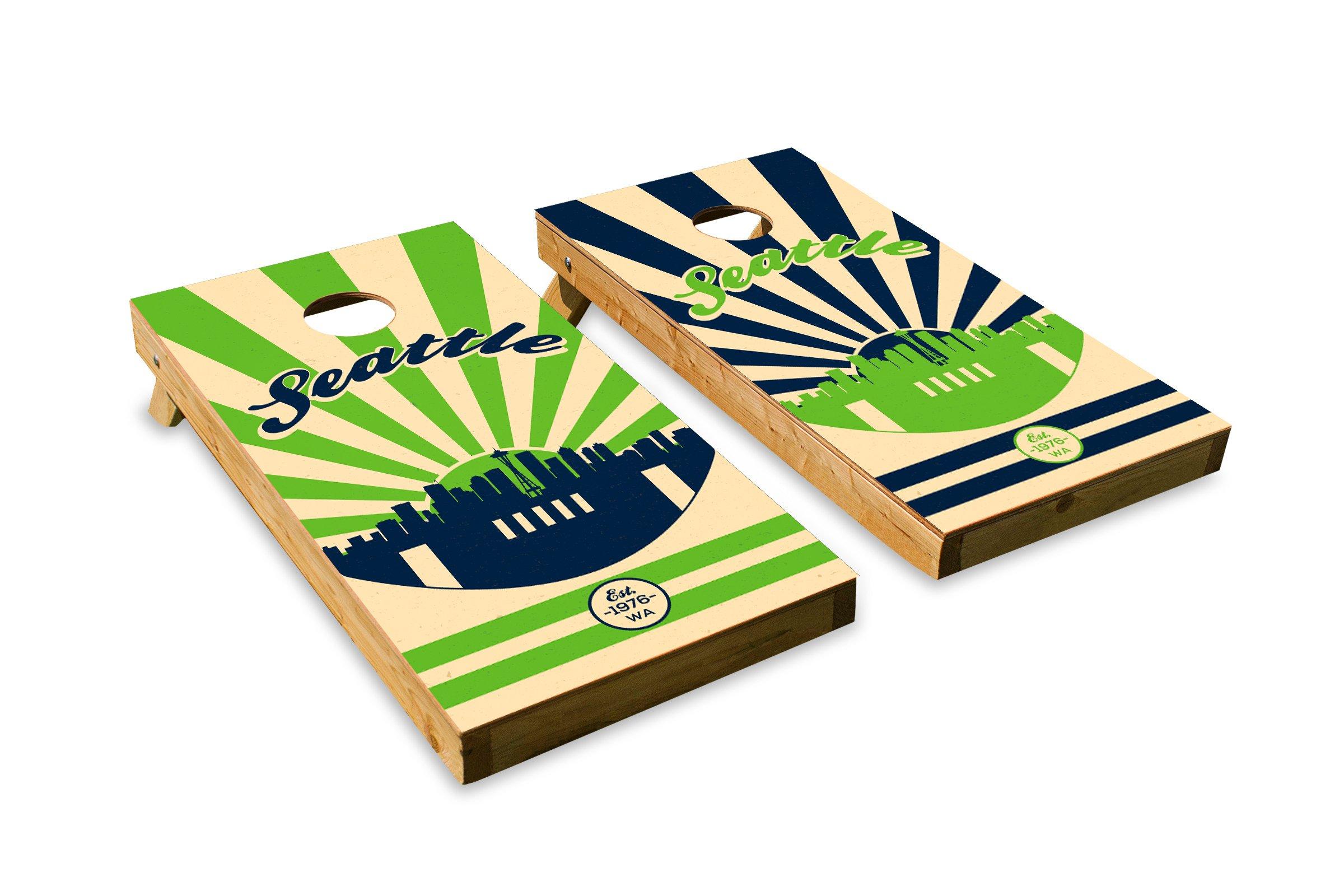 Seattle Football - Cornhole Crew - ACA Regulation Size Cornhole Board Set