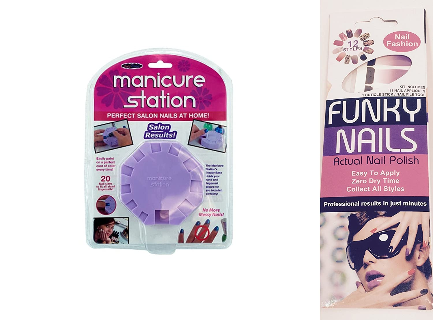 Amazon.com : Manicure Station + Funky Nails Applique Adhesive Nail ...