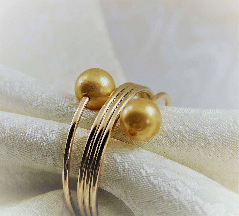 qn17022003ゴールドパールゴールドメタルナプキンリング、結婚式ナプキンリング(ホワイト) 12個   B06Y5KLTC1