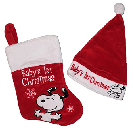 peanuts snoopy soft babys first christmas stocking - Snoopy Christmas Stocking