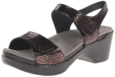 Dansko Women's Sonnet Dress Sandal, Black Shimmer, 37 EU/6.5-7 M