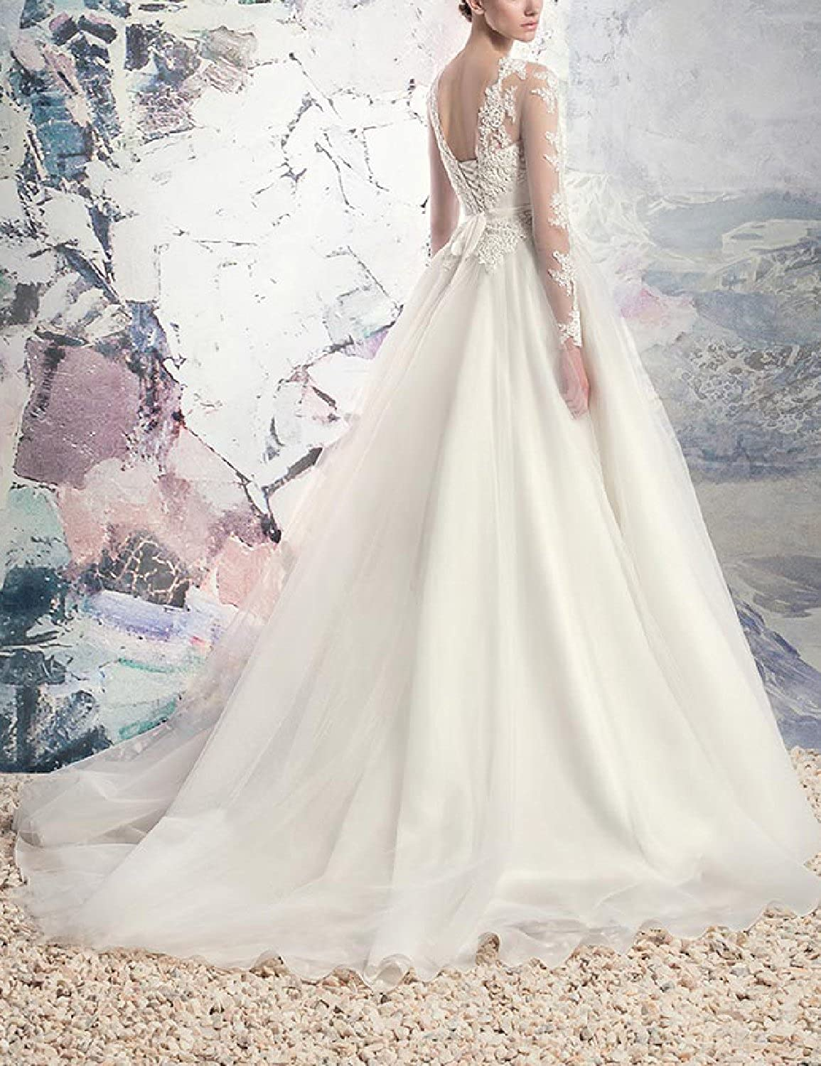 YSMei Womens Long Sleeve Lace Appliqued Bodice Tulle Wedding Bridal Gown YWD068